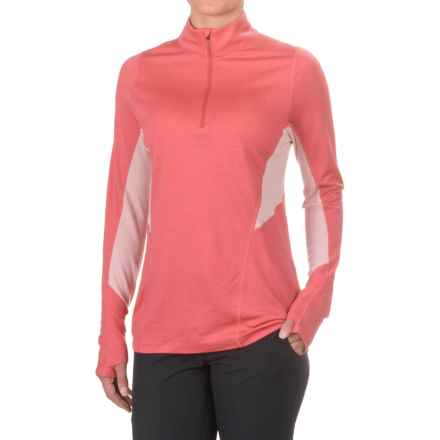 Ibex Indie Zip Neck Pullover Shirt - Merino Wool, Long Sleeve (For Women) in Winter Cherry - Closeouts