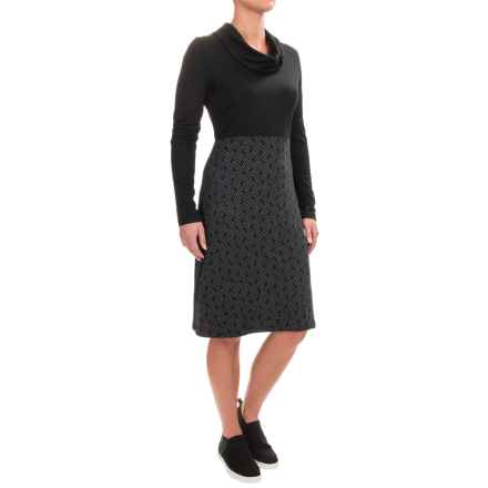 Ibex Juliet Providence Dress - Merino Wool, Cowl Neck, Long Sleeve  (For Women) in Quill / Black - Closeouts