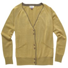 Ibex Meridian Cardigan Sweater - Merino Wool- Cashmere (For Women) in Grain/Stone Heather - Closeouts