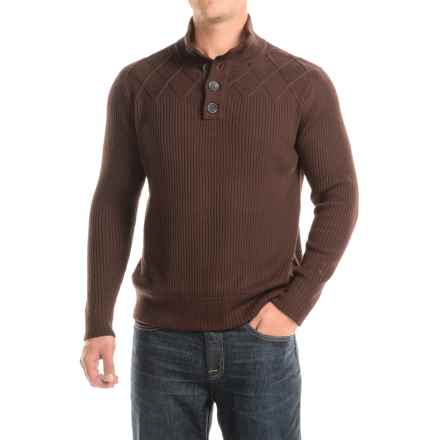 Ibex Mountain Sweater - Merino Wool, Button Neck (For Men) in Archer Heather - Closeouts