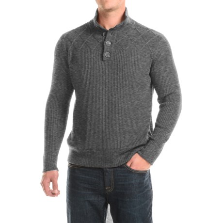 Ibex Mountain Sweater - Merino Wool, Button Neck (For Men) in Pewter Heather