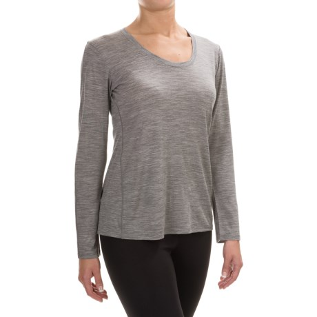 Ibex OD Heather Shirt  - Merino Wool, Long Sleeve (For Women) in Stone Grey Heather
