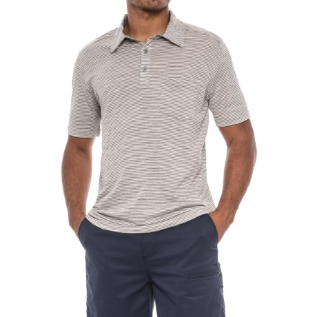 Ibex OD Heather Striped Polo Shirt - Merino Wool, Short Sleeve (For Men) in Birch Heather Stripe
