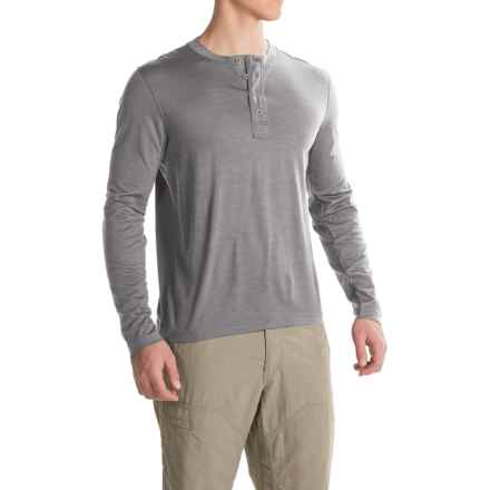 Ibex OD Henley Shirt - Merino Wool, Long Sleeve  (For Men) in Stone Grey Heather - Closeouts