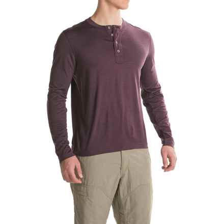 Ibex OD Henley Shirt - Merino Wool, Long Sleeve  (For Men) in Wicked Dark Heather - Closeouts