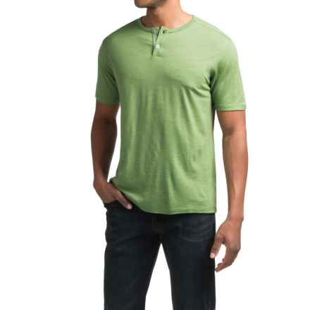Ibex OD Merino Wool Henley Shirt - Short Sleeve (For Men) in Gecko Heather - Closeouts