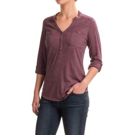 Ibex OD Shanti Henley Shirt - Merino Wool, Long Sleeve (For Women) in Acai Heather - Closeouts