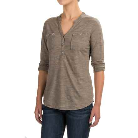 Ibex OD Shanti Henley Shirt - Merino Wool, Long Sleeve (For Women) in Rye Heather - Closeouts