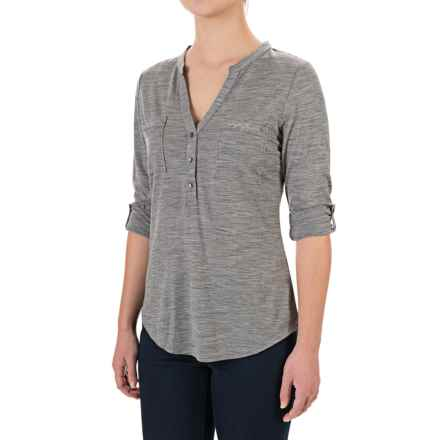 Ibex OD Shanti Henley Shirt - Merino Wool, Long Sleeve (For Women) in Stone Grey Heather - Closeouts