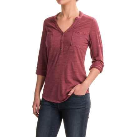 Ibex OD Shanti Henley Shirt - Merino Wool, Long Sleeve (For Women) in Winter Cherry Heather - Closeouts