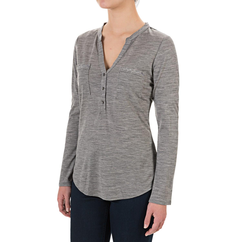 Ibex od shanti henley shirt for women save 45 for Merino wool shirt long sleeve