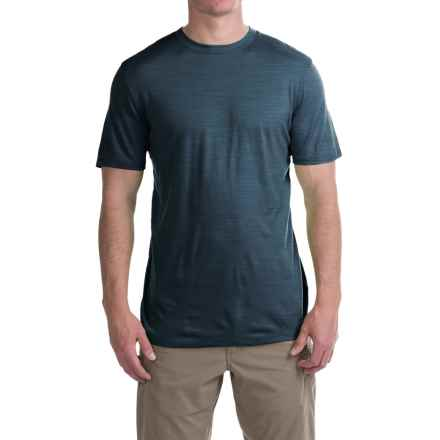Ibex Overdye Sol T-Shirt - Merino Wool, Short Sleeve (For Men) in Blue Print Heather - Closeouts