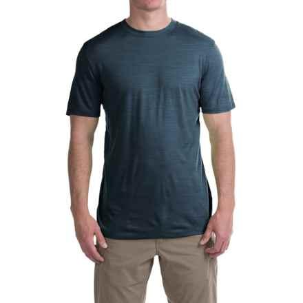 Ibex Overdye Sol T-Shirt - Merino Wool, Short Sleeve (For Men) in Blue Print Heather - Closeouts