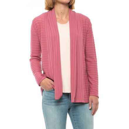 Ibex Shadow Stripe Cardigan Sweater - Merino Wool Blend (For Women) in Acai - Closeouts