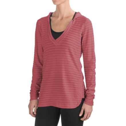 Ibex Shadow Stripe Hoodie - Merino Wool (For Women) in Acai - Closeouts