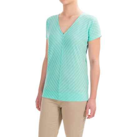 Ibex Shadow Stripe Shirt - Merino Wool, Short Dolman Sleeve (For Women) in Sea Glass - Closeouts