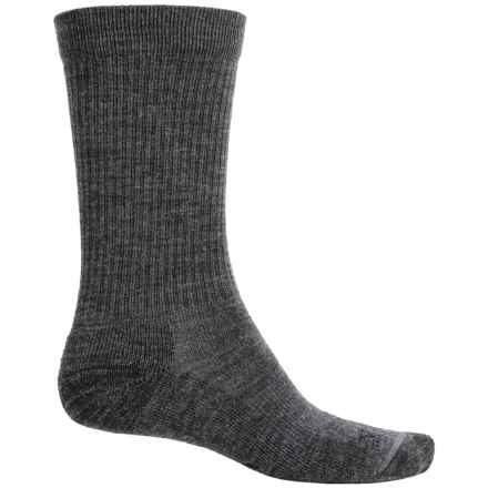 Ibex Solid Ribbed Socks - Merino Wool, Crew (For Men and Women) in Charcoal - Closeouts