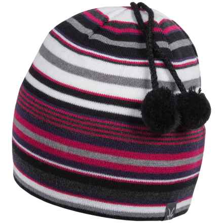 Ibex Stripe Double Pom Beanie - Merino Wool (For Women) in Hotlips Stripe - Closeouts