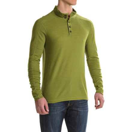 Ibex Waffle-Knit Henley Shirt - Merino Wool, Long Sleeve (For Men) in Peat Moss - Closeouts