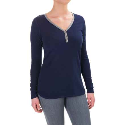Ibex Waffle-Knit Henley Shirt - Merino Wool, Long Sleeve (For Women) in Midnight - Closeouts