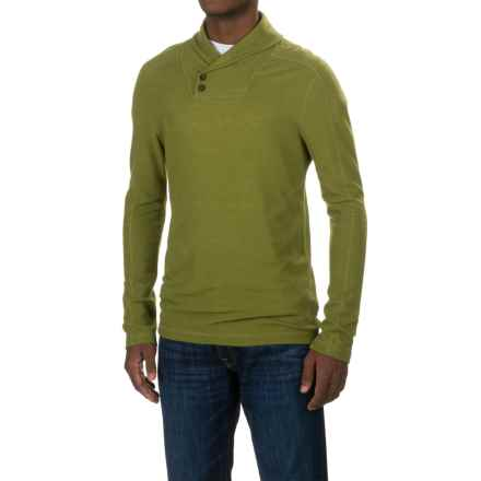 Ibex Waffle-Knit Shawl Collar Shirt - Merino Wool, Long Sleeve (For Men) in Peat Moss - Closeouts