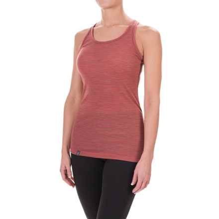 Ibex Woolies 1 Base Layer Tank Top - Merino Wool, Racerback (For Women) in Winter Cherry/Camel Heather Stripe - Closeouts