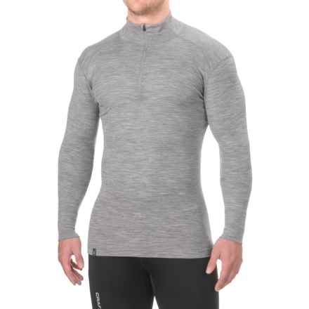 Ibex Woolies 1 Base Layer Top - Merino Wool, Zip Neck, Long Sleeve (For Men) in Stone Grey Heather - Closeouts