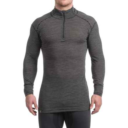 Ibex Woolies 1 Base Layer Zip Turtleneck - Merino Wool, Long Sleeve (For Men) in Black/Medium Heather Grey Stripe - Closeouts