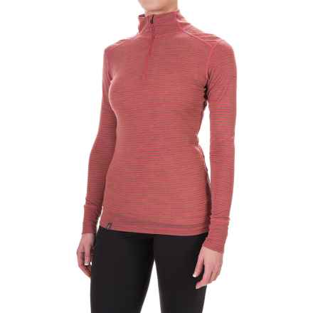 Ibex Woolies 1 Lightweight Striped Base Layer Turtleneck - Merino Wool, Zip Neck, Long Sleeve (For Women) in Winter Cherry/Camel Heather Stripe - Closeouts
