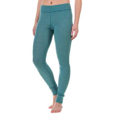 Ibex Woolies 1 Stripe Base Layer Bottoms - Merino Wool (For Women) in Dragonfly/Meadow Stripe - Closeouts