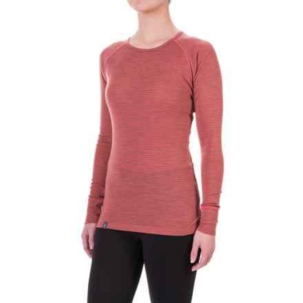 Ibex Woolies 1 Stripe Base Layer Top - Merino Wool, Long Sleeve (For Women) in Winter Cherry/Camel Heather Stripe - Closeouts