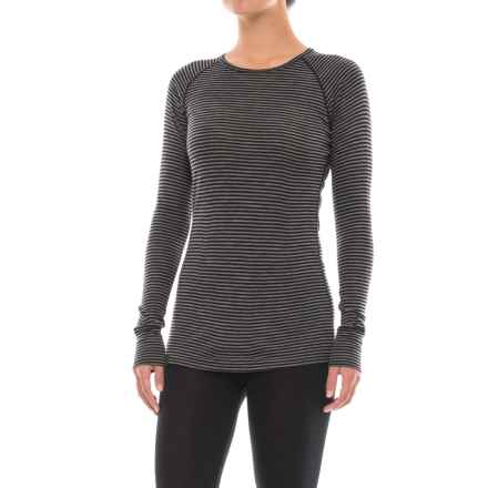 Ibex Woolies 1 Striped Base Layer Crew Top - Merino Wool, Long Sleeve (For Women) in Black/Medium Heather Grey Stripe - Closeouts