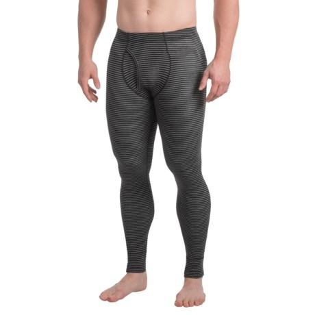 Ibex Woolies 1 Striped Base Layer Pants - Merino Wool (For Men) in Black/Medium Heather Grey Stripe