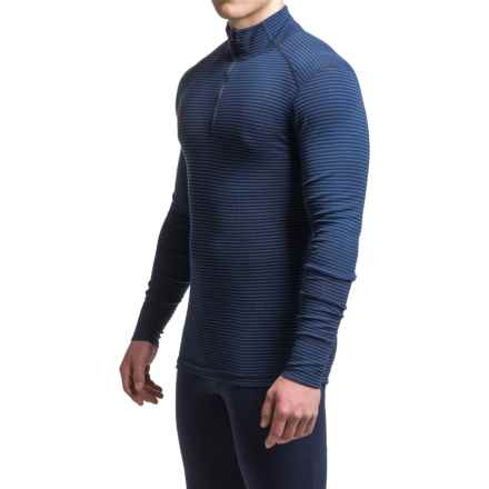 Ibex Woolies 1 Striped Base Layer Top - Merino Wool, Zip Neck, Long Sleeve (For Men) in Midnight/Baltic Stripe - Closeouts