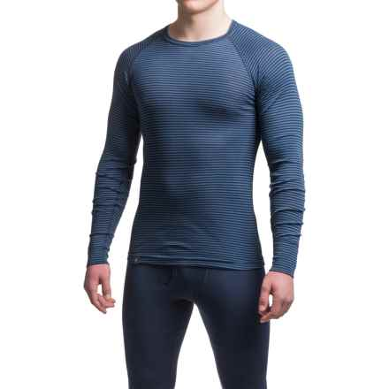 Ibex Woolies 1 Striped Crew Neck Base Layer Top - Merino Wool, Long Sleeve (For Men) in Midnight/Baltic Stripe - Closeouts