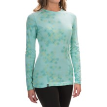 Ibex Woolies 2 Printed Base Layer Top - Merino Wool, Long Sleeve (For Women) in Geo Flora/Opal - Closeouts