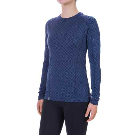 Ibex Woolies 2 Printed Base Layer Top - Merino Wool, Long Sleeve (For Women) in Lattice / Baltic - Closeouts