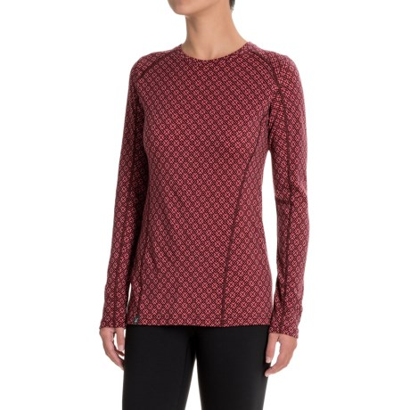 Ibex Woolies 2 Printed Base Layer Top - Merino Wool, Long Sleeve (For Women) in Lattice / Winter Cherry