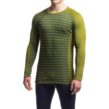 Ibex Woolies 2 Striped Base Layer Top - Merino Wool, Crew Neck, Long Sleeve (For Men) in Jasper/Peat Moss Stripe - Closeouts