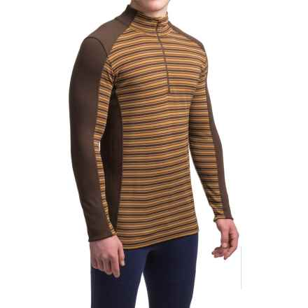 Ibex Woolies 2 Striped Base Layer Top - Merino Wool, Zip Neck, Long Sleeve (For Men) in Archer/Antelope Stripe - Closeouts