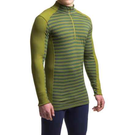 Ibex Woolies 2 Striped Base Layer Top - Merino Wool, Zip Neck, Long Sleeve (For Men) in Jasper/Peat Moss Stripe - Closeouts