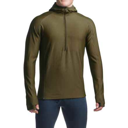 Ibex Woolies 3 Base Layer Hoodie - Merino Wool, Zip Neck (For Men) in Acorn - Closeouts