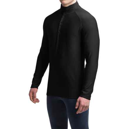 Ibex Woolies 3 Base Layer Top - Merino Wool, Snap Neck, Long Sleeve (For Men) in Black - Closeouts