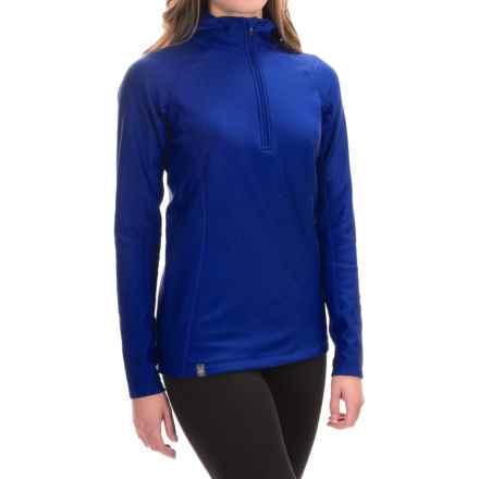 Ibex Woolies 3 Hooded Base Layer Top - Zip Neck, Long Sleeve (For Women) in Blue Glacier - Closeouts