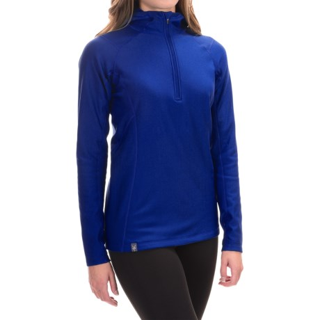 Ibex Woolies 3 Hooded Base Layer Top - Zip Neck, Long Sleeve (For Women) in Blue Glacier