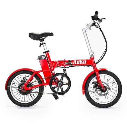 iBike 18 Mile Assist Folding Electronic Bicycle in Red - Closeouts