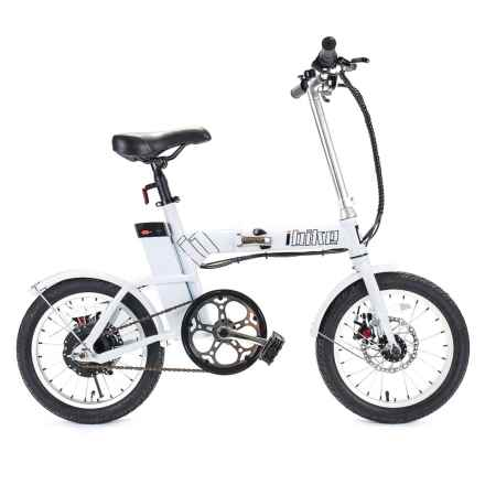 iBike 18 Mile Assist Folding Electronic Bicycle in White - Closeouts
