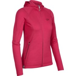Icebreaker 2013 RF260 Cascade Hooded Jacket - Merino Wool, Full Zip, Long Sleeve (For Women) in Ruby