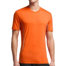 Icebreaker Aero Crewe Running Shirt - UPF 20+, Merino Wool, Short Sleeve (For Men) in Spark/Mineral - Closeouts