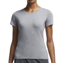 Icebreaker Aero Running Shirt - UPF 20+, Merino Wool, Short Sleeve (For Women) in Mineral/Shocking - Closeouts